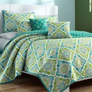 Turquoise Quilts And Coverlets Zoie Turquoise And Lime Medallion Coverlet Set By J