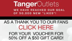 Tanger Gift Card 50 For 25 - tanger outlets 50 gift card for 25