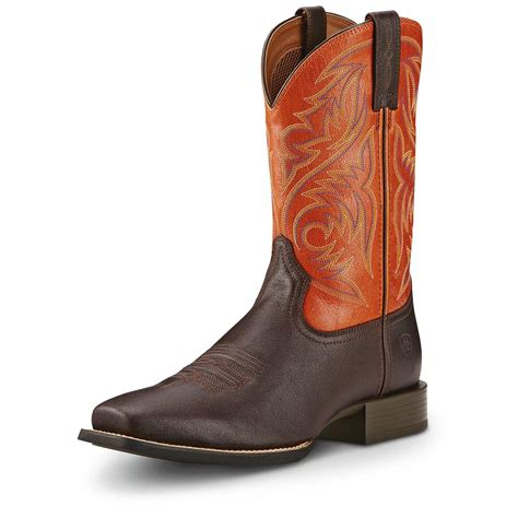 square toe cowboy boots for ariat s sport herdsman cowboy boots square toe