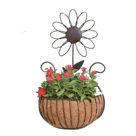 deer park metal wall basket with coco liner wb135x