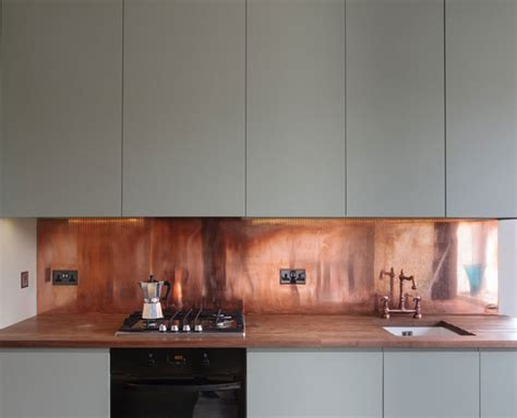 Kitchen Splash Guard Ideas ferrum metal copper splashback