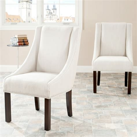 safavieh sloping arm beige linen nailhead dining chairs