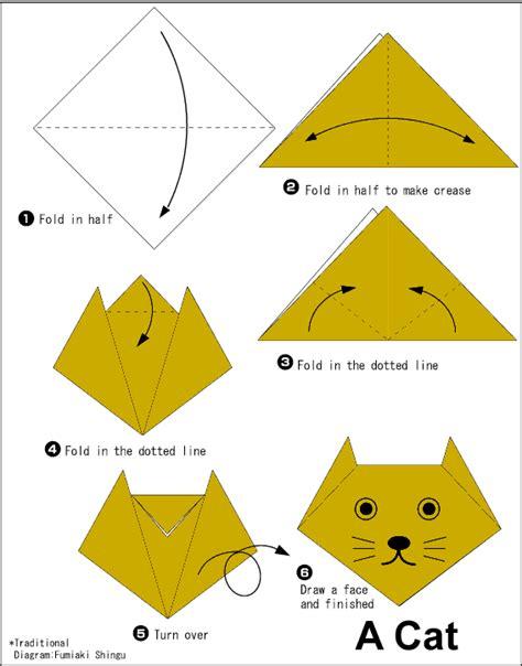 membuat origami yg mudah langkah membuat origami wajah kucing cara mudah membuat