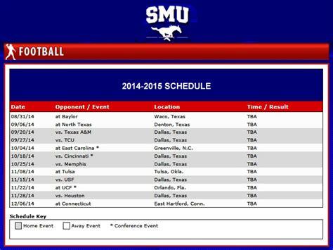 smu mustangs schedule smu announces 2014 football schedule smu