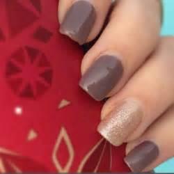 fall gold glitter brown gel nails nail art