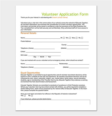 Volunteer Application Template 20 Forms Doc Pdf Format Volunteer Application Form Template Free