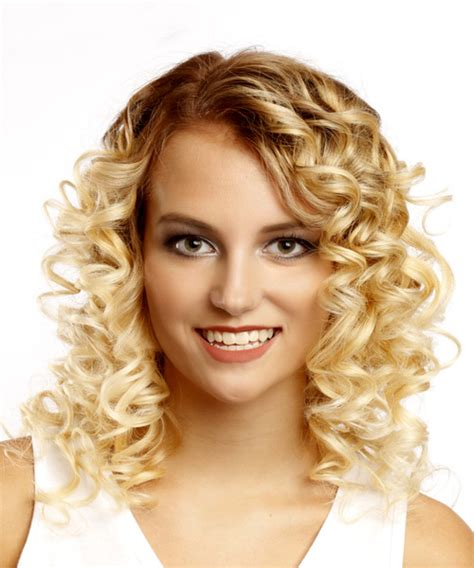 casual hairstyles for medium length curly hair medium curly casual bob hairstyle light blonde