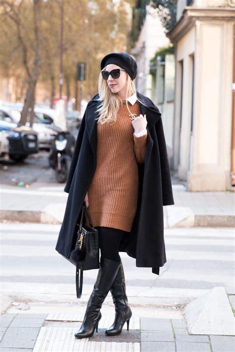 flame wool coat sweater dress knee high boots