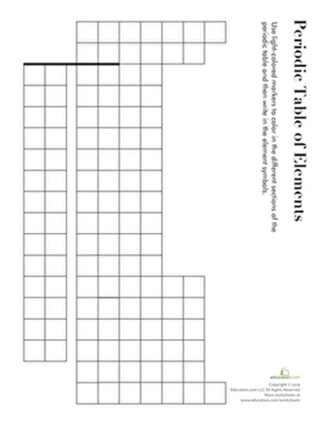 blank periodic table quiz printable blank periodic table worksheet education com