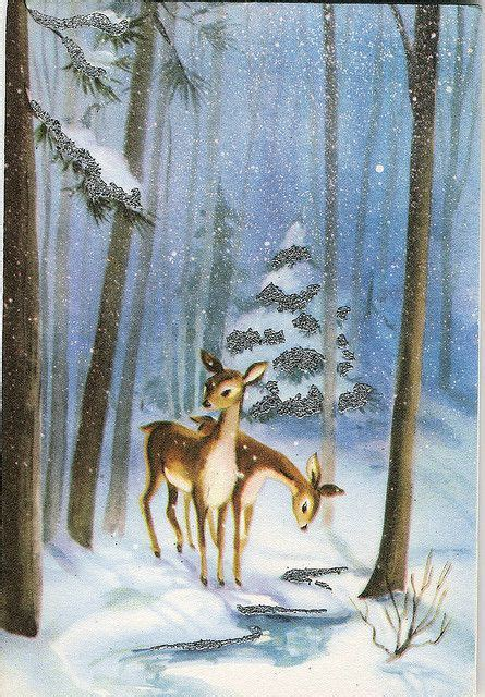 vintage greeting card  deer  snowy woods public domain graphics winter pinterest