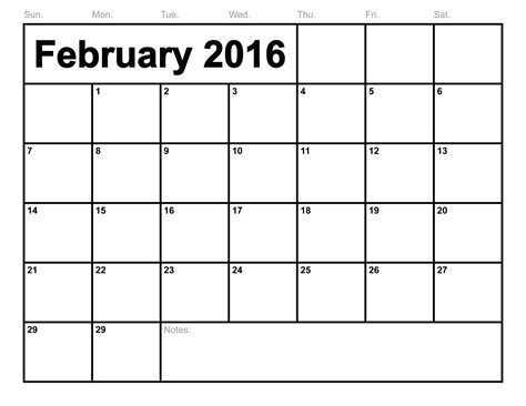 free printable february 2016 calendar page blank