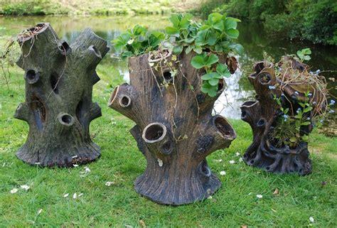 tree stump three salt glaze tree stump planters in garden furniture urns