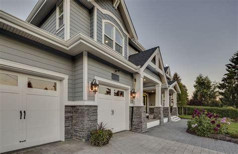 Landscape Ideas Gray House Grey Siding Siding White Garage Doors With Windows