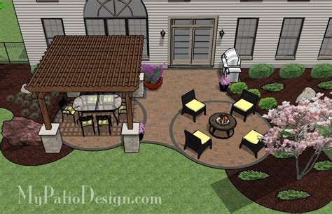 patio layout ideas shaded pergola covered curvy patio tinkerturf
