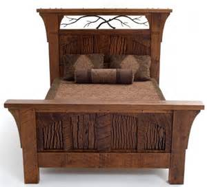 rustic lodge bed carved pine tree motif barn wood furniture