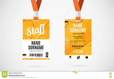 event id card template staff id card set vector design illustration stock vector