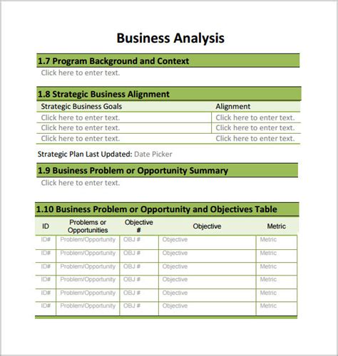 business analysis template 7 business analysis templates