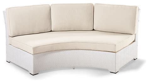 Curved Outdoor Sofa Palermo Armless Curved Outdoor Sofa With Cushions In White Finish Patio Furnitu Traditional
