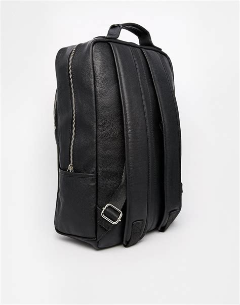 Asos Leather Backpack In Black by Lyst Asos Smart Leather Backpack In Black In Black For