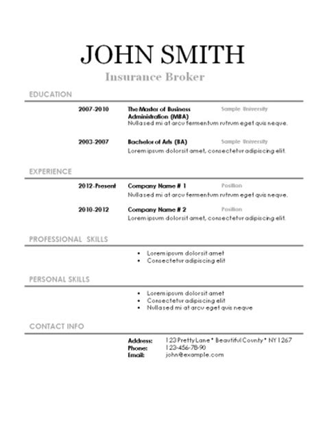 Printable Resume Templates by Free Printable Resume Templates