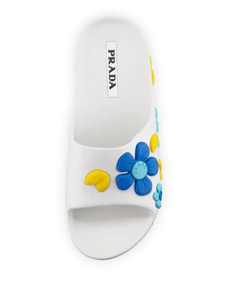 Sandal Rubber 2 B Flower by Prada Rubber Flower Slide Sandal