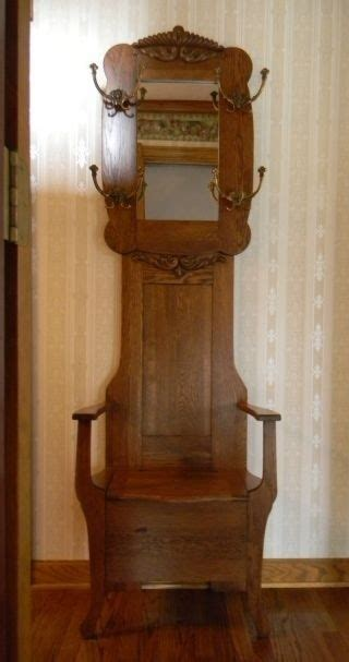 antique oak hall tree with bench and mirror hall tree with bench and mirror foter