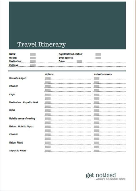 Travel Itinerary Business Templates Executive Pa And Secretarial Free Business Travel Itinerary Template
