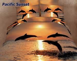 dolphin dolphin sunset print comforter set