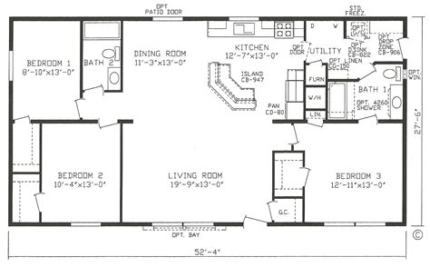 Mobile Homes Floor Plans by Mobile Home Blueprints 3 Bedrooms Single Wide 71