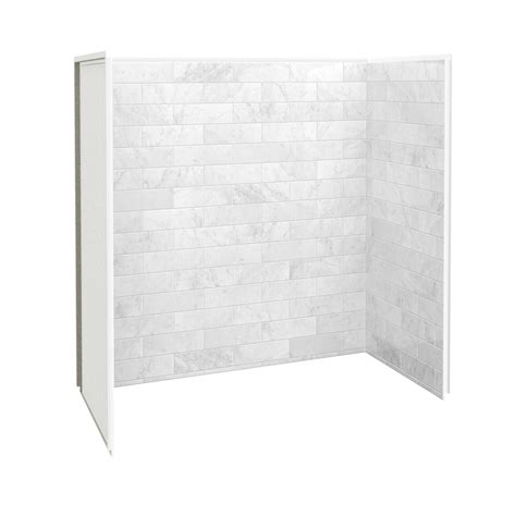 bathtub shower walls shop maax marble carrara fiberglass plastic composite