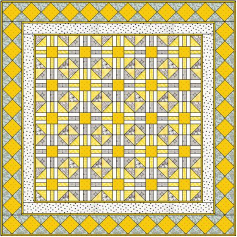 Patchwork Web - mellow yellow quilt free pattern web