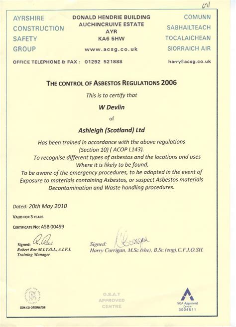asbestos awareness certificate template asbestos awareness certificate template 28 images