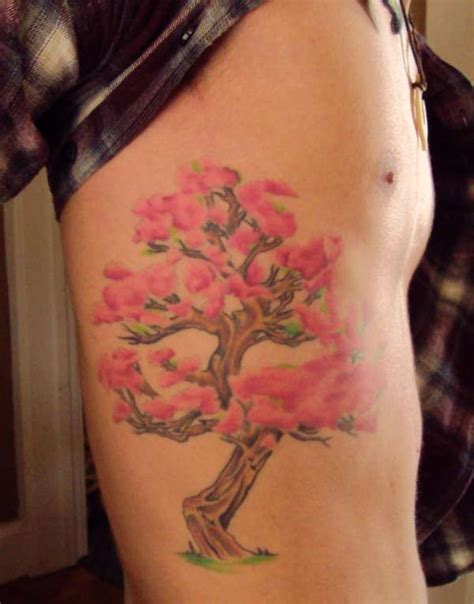 bonsai tree tattoo cherry blossom bonsai tree on side nature tattoos