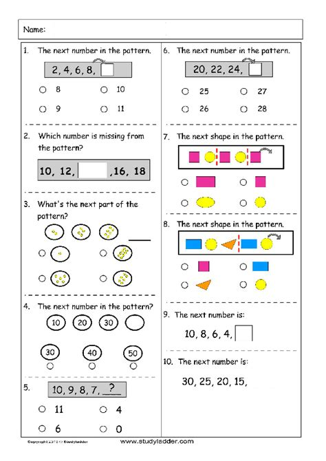 pattern questions grade 1 patterns and algebra mathematics skills online