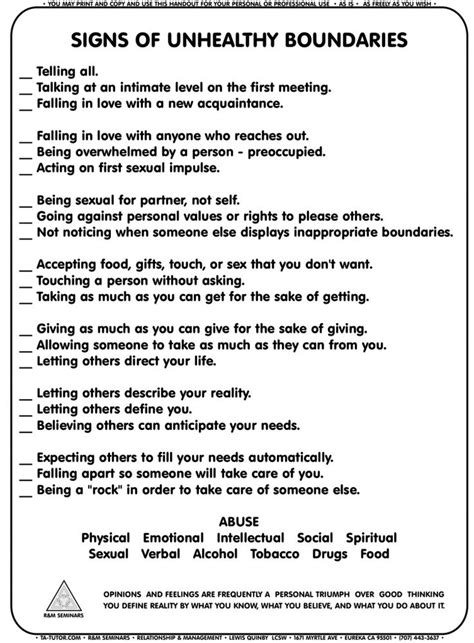 Boundaries Therapy Worksheets by Recreation Therapy Ideas Signs Of Unhealthy Boundaries