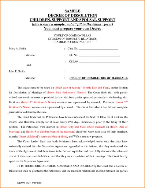 exle of divorce papers sle resume for marketing