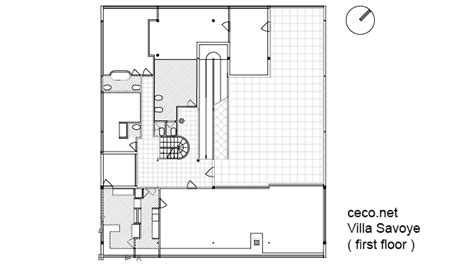 villa savoye floor plan dwg villa savoye le corbusier first floor block in