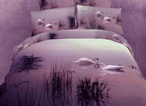 sunset bedding beautiful sunset scenery swan pattern 4 piece 3d bedding