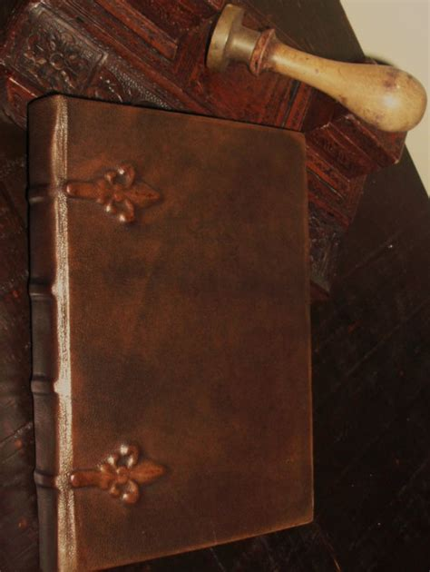 Handmade Italian Leather Journals - italian handmade leather journal relief decoration lilies