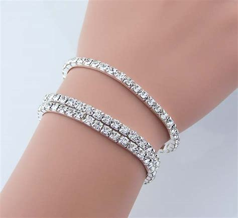 Gamis Swaroski Set Pasmina 3 sets of swarovski artificial bracelet rhinestone jewelry shining bracelet