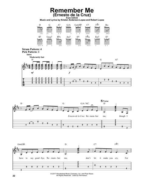 coco remember me chord remember me ernesto de la cruz sheet music direct