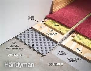 Basement Flooring Tiles With A Built In Vapor Barrier How To Carpet A Basement Floor The Family Handyman