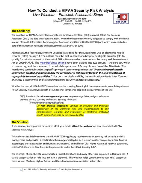 Webinar 11 30 2010 How To Conduct A Hipaa Security Risk Analysis Hipaa Privacy Risk Assessment Template