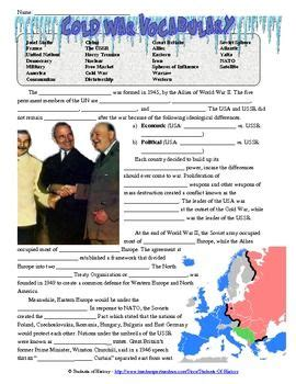 Cold War Worksheets by Cloze Reading Cold War And Vocabulary On