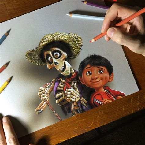 coco art my portrait of miguel and hector from coco by