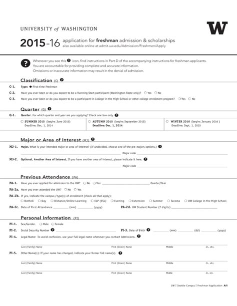 Form Of L by Of Washington Application Form Of