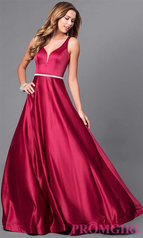 Prom Dresses by Classic V Neck A Line Satin Prom Dress Promgirl