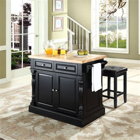 black kitchen island with stools shop crosley furniture black craftsman kitchen island with 2 stools at lowes