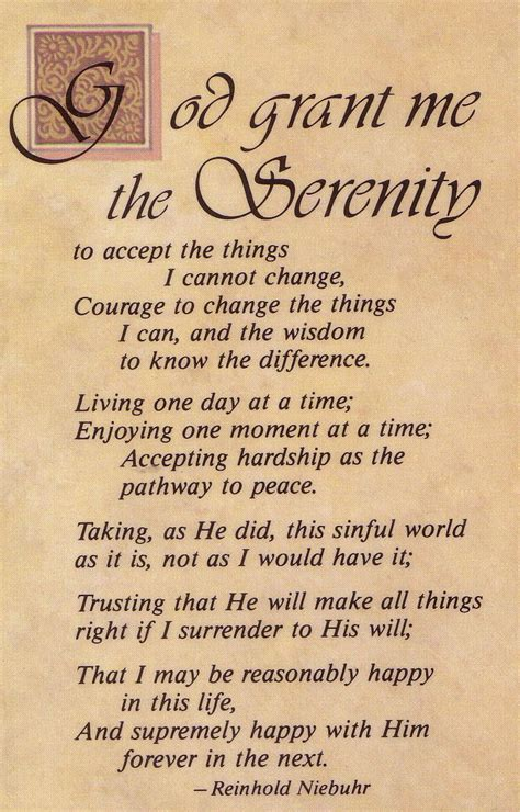 printable version the serenity prayer printable version serenity prayer