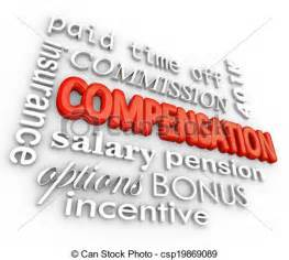 stock illustration of compensation benefits salary total